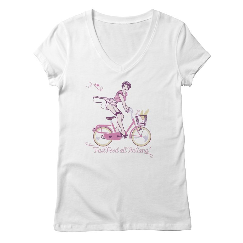 """Fast Food all'Italiana"": genuine Italian fast food style! Women's Regular V-Neck by Pinupart.it - Mad Mac"