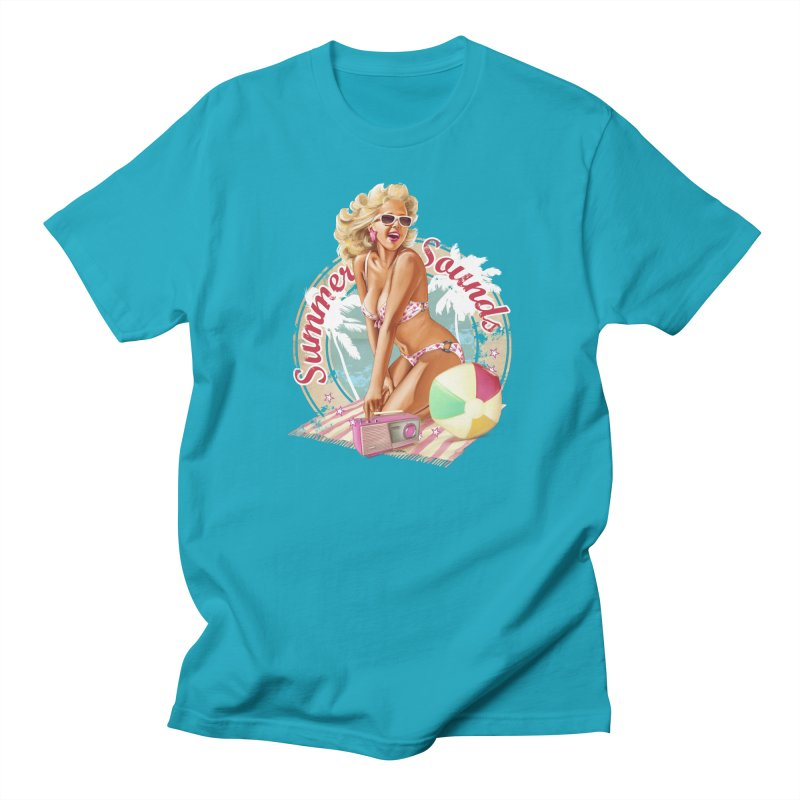 """Summer Sounds"": the endless summer of Pin Up Art! in Women's Regular Unisex T-Shirt Cyan by Pinupart.it - Mad Mac"