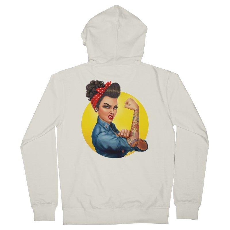Rosie The Riveter Men's Zip-Up Hoody by Pinup Bombshells Artist Shop