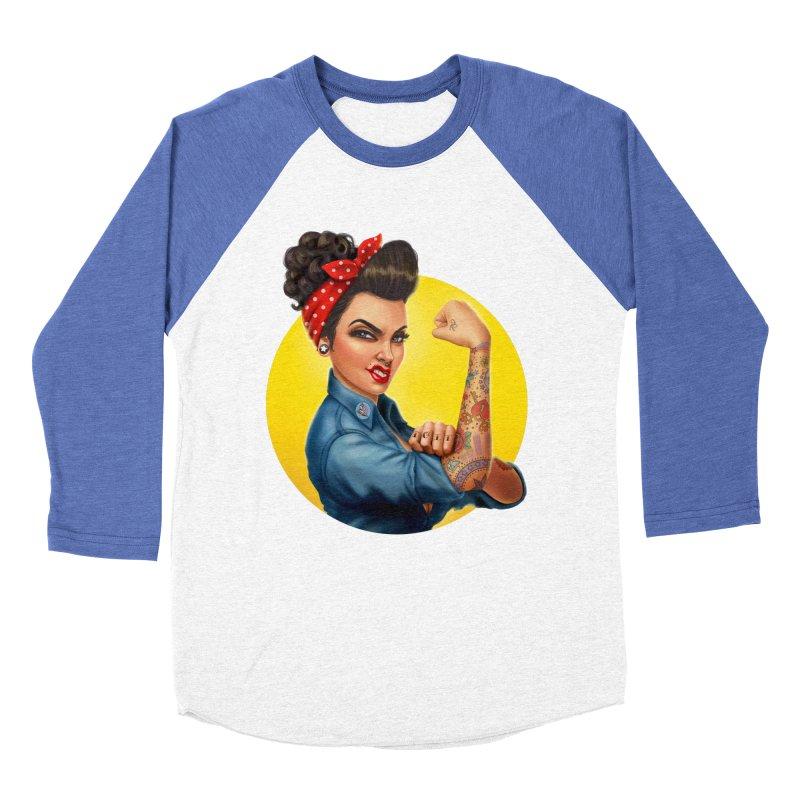 Rosie The Riveter Women's Baseball Triblend T-Shirt by Pinup Bombshells Artist Shop