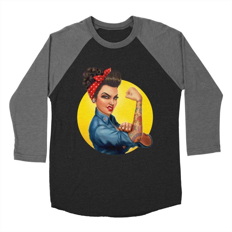 Rosie The Riveter Men's Baseball Triblend T-Shirt by Pinup Bombshells Artist Shop