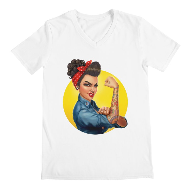 Rosie The Riveter Men's V-Neck by Pinup Bombshells Artist Shop