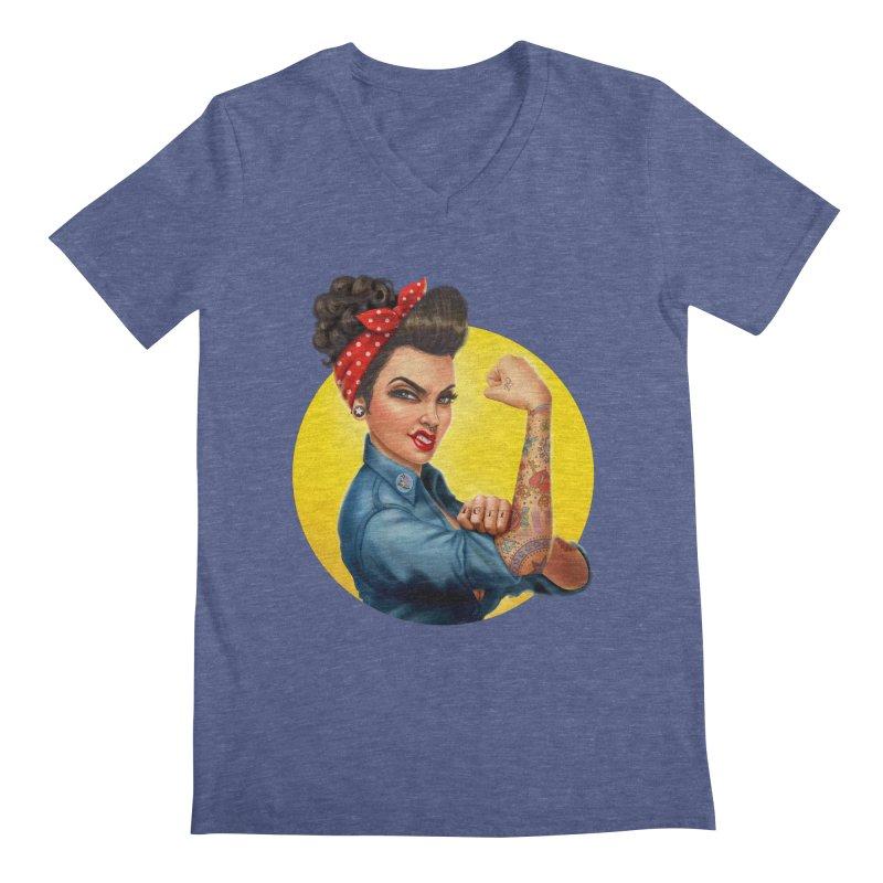 Rosie The Riveter Men's V-Neck by Pinup Bombshells Artist Shop