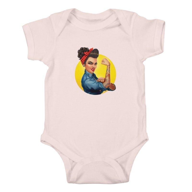 Rosie The Riveter Kids Baby Bodysuit by Pinup Bombshells Artist Shop