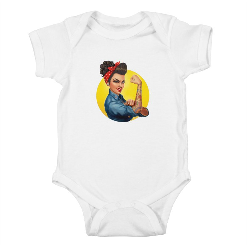 Rosie The Riveter Kids Baby Bodysuit by Pinup Bombshells Artist Shop