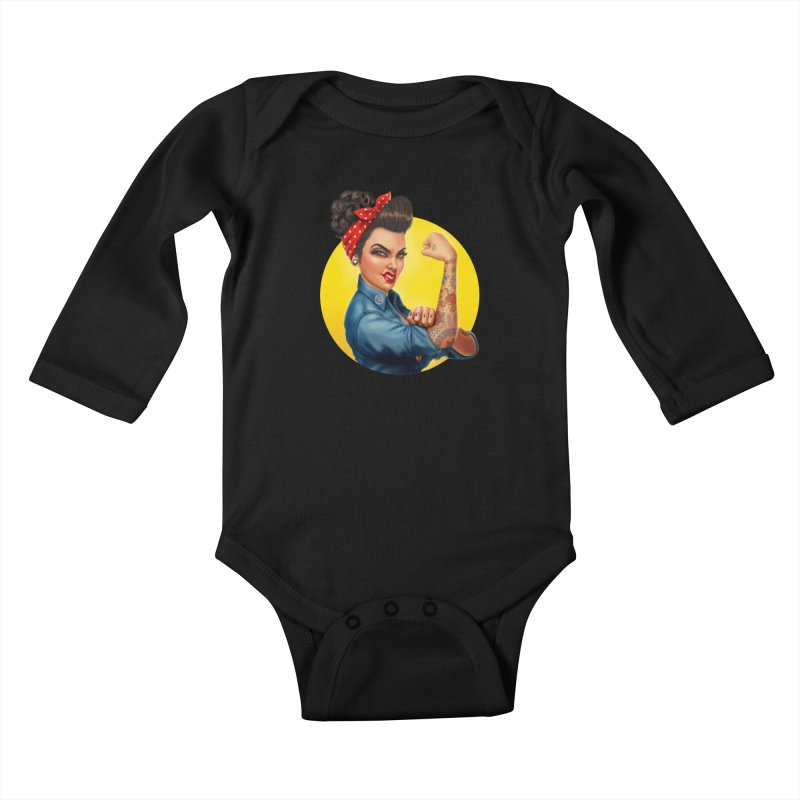 Rosie The Riveter Kids Baby Longsleeve Bodysuit by Pinup Bombshells Artist Shop
