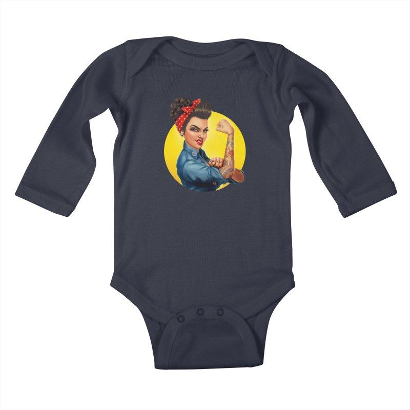 Rosie The Riveter Kids Baby Longsleeve Bodysuit by Pinup Bombshells Artist Shop