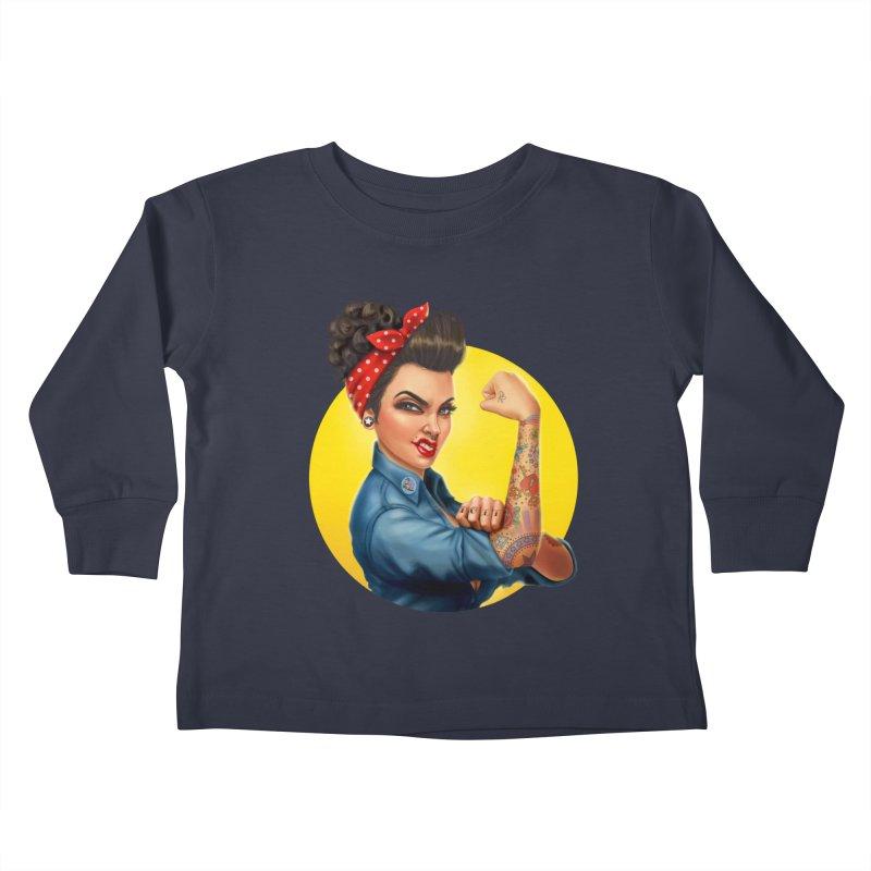 Rosie The Riveter Kids Toddler Longsleeve T-Shirt by Pinup Bombshells Artist Shop