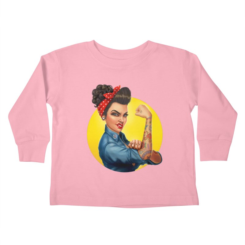 Rosie The Riveter Kids Toddler Longsleeve T-Shirt by Pinup Bombshells Artist Shop