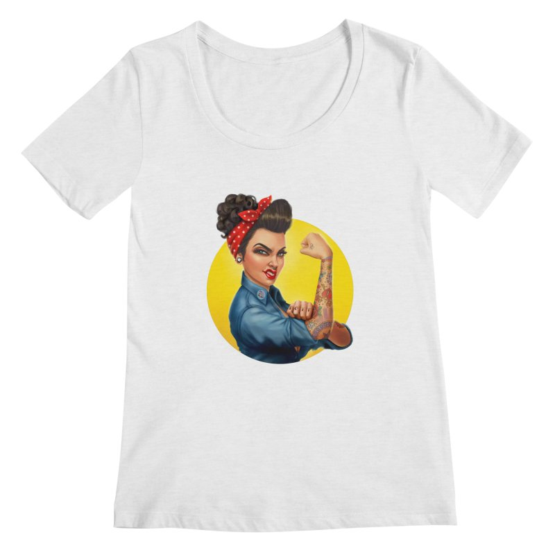 Rosie The Riveter Women's Scoopneck by Pinup Bombshells Artist Shop