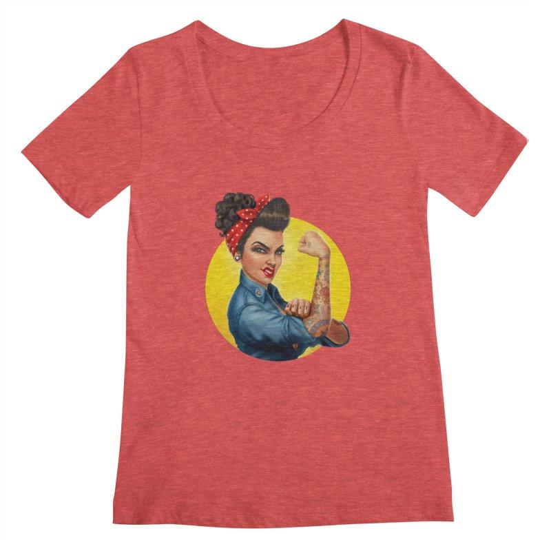 Rosie The Riveter Women's Scoopneck by Pinup Bombshells Artist Shop