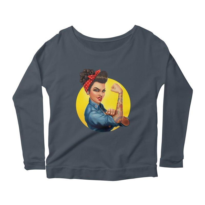 Rosie The Riveter Women's Longsleeve Scoopneck  by Pinup Bombshells Artist Shop