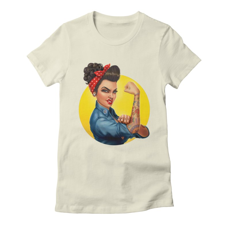 Rosie The Riveter Women's Fitted T-Shirt by Pinup Bombshells Artist Shop
