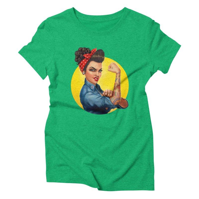 Rosie The Riveter Women's Triblend T-shirt by Pinup Bombshells Artist Shop