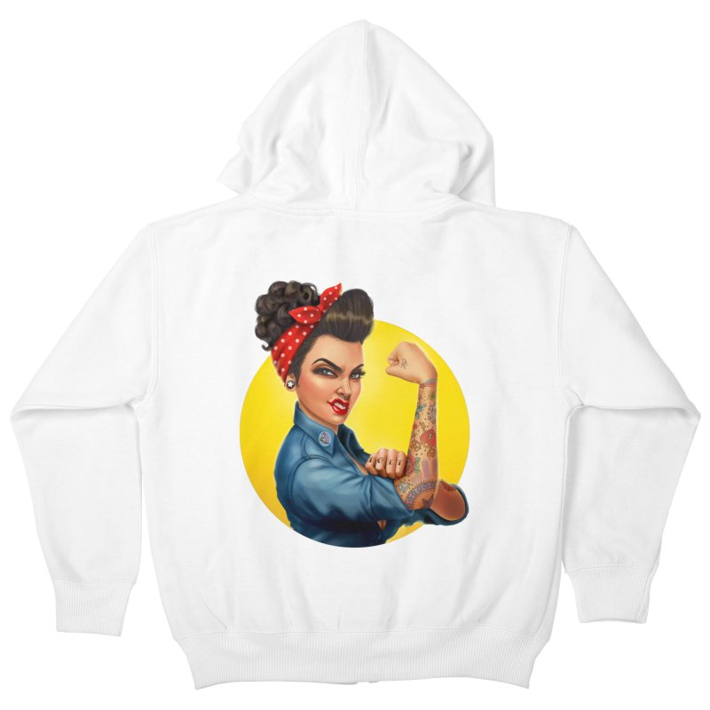 Rosie The Riveter Kids Zip-Up Hoody by Pinup Bombshells Artist Shop