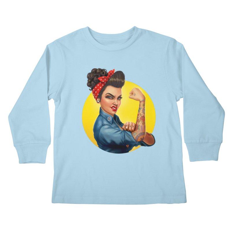 Rosie The Riveter Kids Longsleeve T-Shirt by Pinup Bombshells Artist Shop