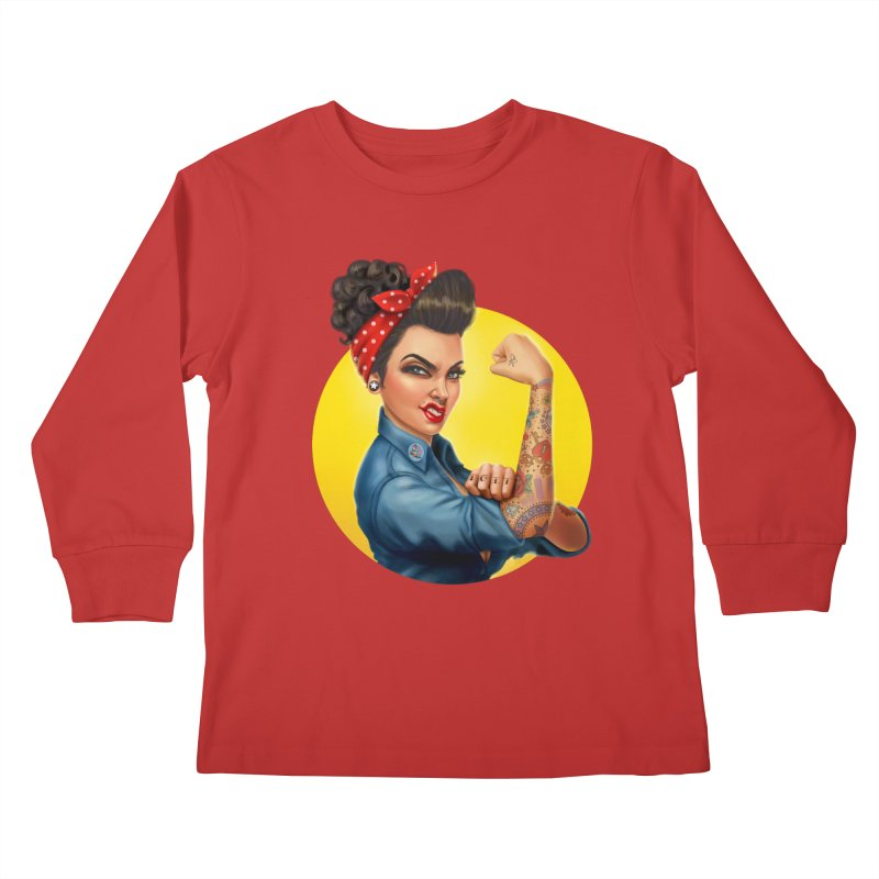 Rosie The Riveter Kids Longsleeve T-Shirt by Pinup Bombshells Artist Shop