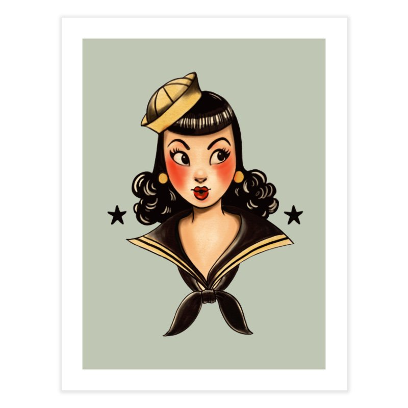 Sailor Jerry Tribute Home Fine Art Print by Pinup Bombshells Artist Shop