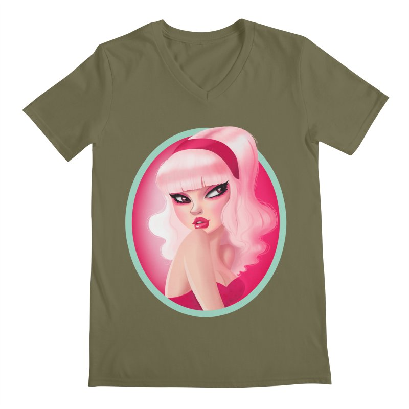 Miss Kandy Floss Men's V-Neck by Pinup Bombshells Artist Shop