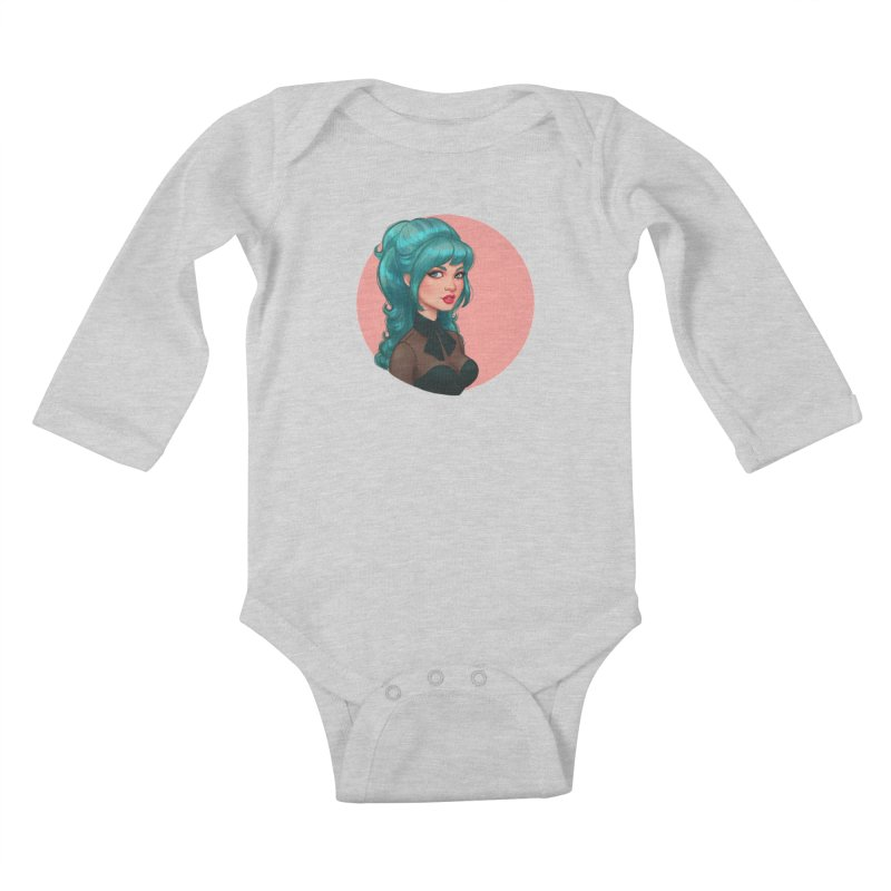 Bardot Vibes Kids Baby Longsleeve Bodysuit by Pinup Bombshells Artist Shop