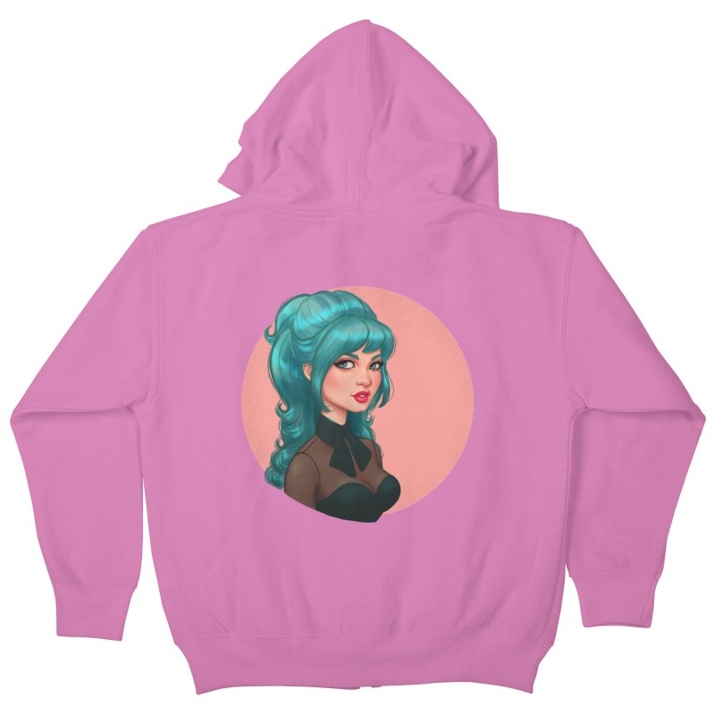 Bardot Vibes Kids Zip-Up Hoody by Pinup Bombshells Artist Shop