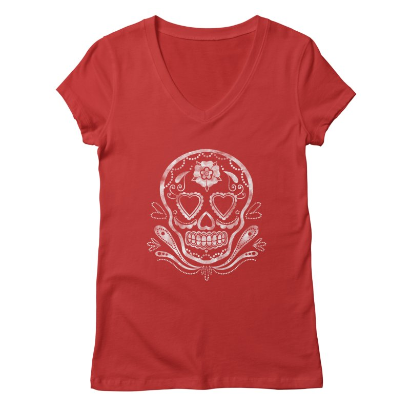 Sugar Skull Women's V-Neck by Pinup Bombshells Artist Shop