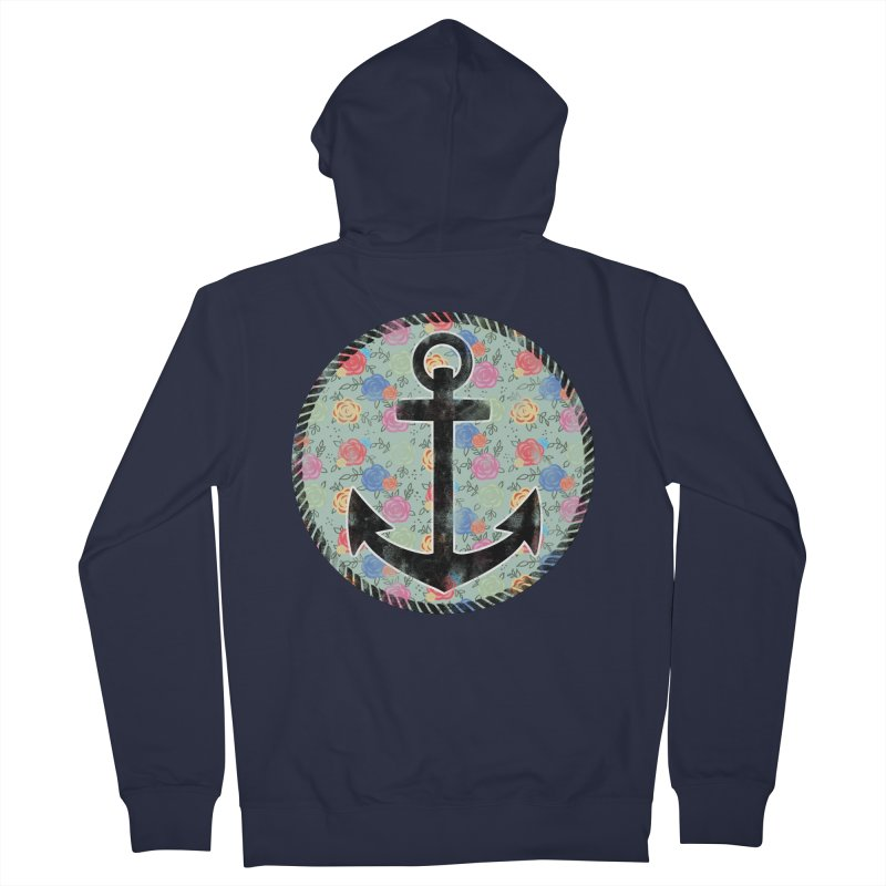 Anchor on Flowers Women's Zip-Up Hoody by Pinup Bombshells Artist Shop