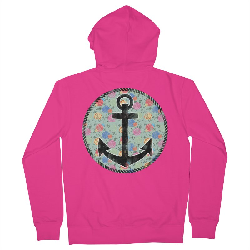 Anchor on Flowers Men's Zip-Up Hoody by Pinup Bombshells Artist Shop