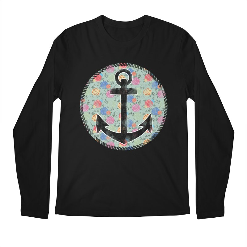 Anchor on Flowers Men's Longsleeve T-Shirt by Pinup Bombshells Artist Shop