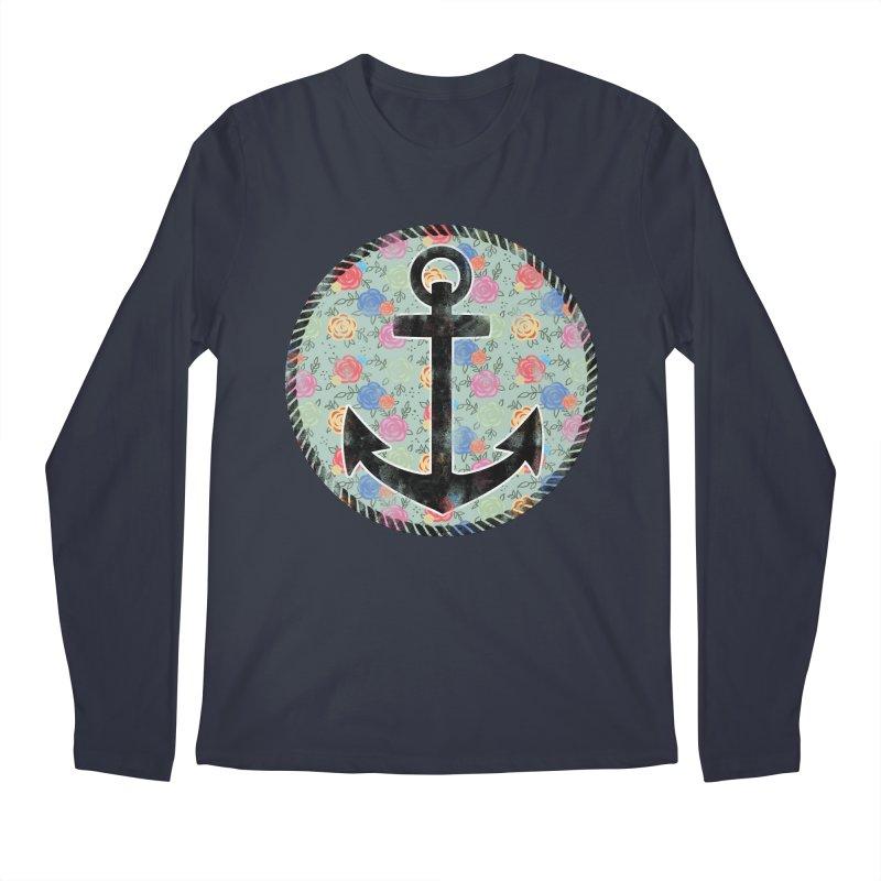 Anchor on Flowers Men's Longsleeve T-Shirt by Pinup Bombshells Artist Shop