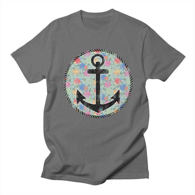 Anchor on Flowers Men's T-Shirt by Pinup Bombshells Artist Shop