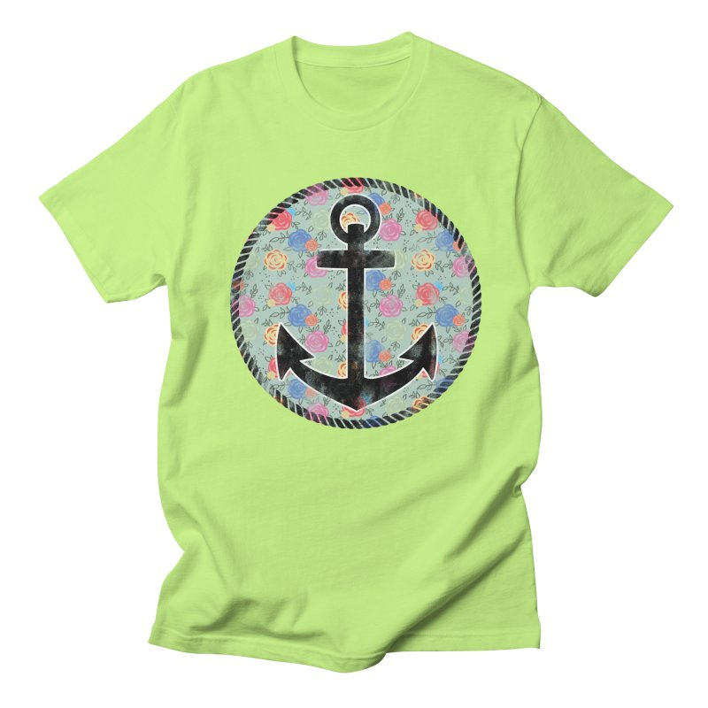 Anchor on Flowers Men's T-shirt by Pinup Bombshells Artist Shop