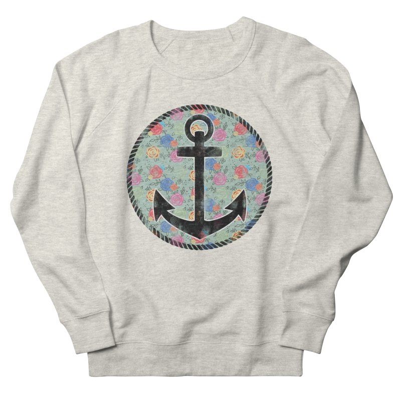 Anchor on Flowers Men's Sweatshirt by Pinup Bombshells Artist Shop