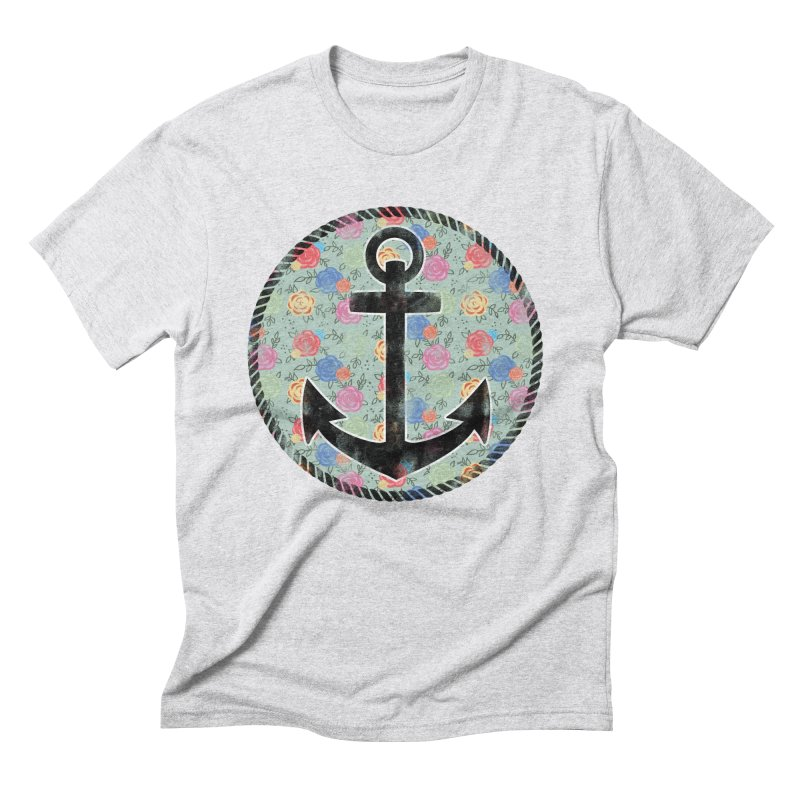 Anchor on Flowers Men's Triblend T-shirt by Pinup Bombshells Artist Shop