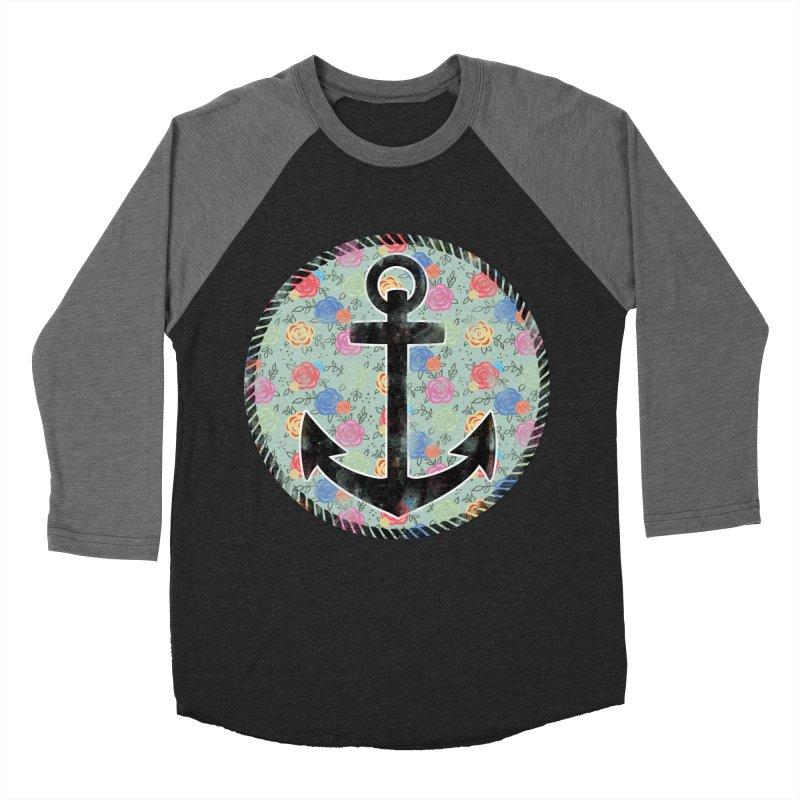 Anchor on Flowers Women's Baseball Triblend T-Shirt by Pinup Bombshells Artist Shop