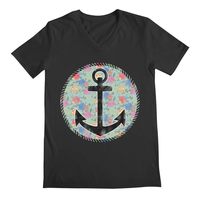 Anchor on Flowers Men's V-Neck by Pinup Bombshells Artist Shop