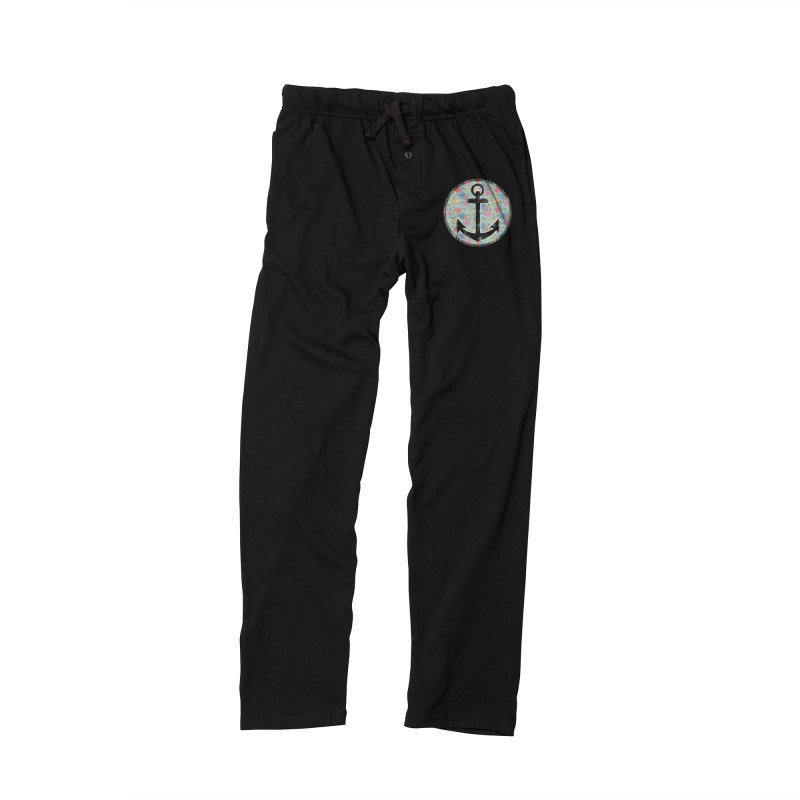 Anchor on Flowers Men's Lounge Pants by Pinup Bombshells Artist Shop