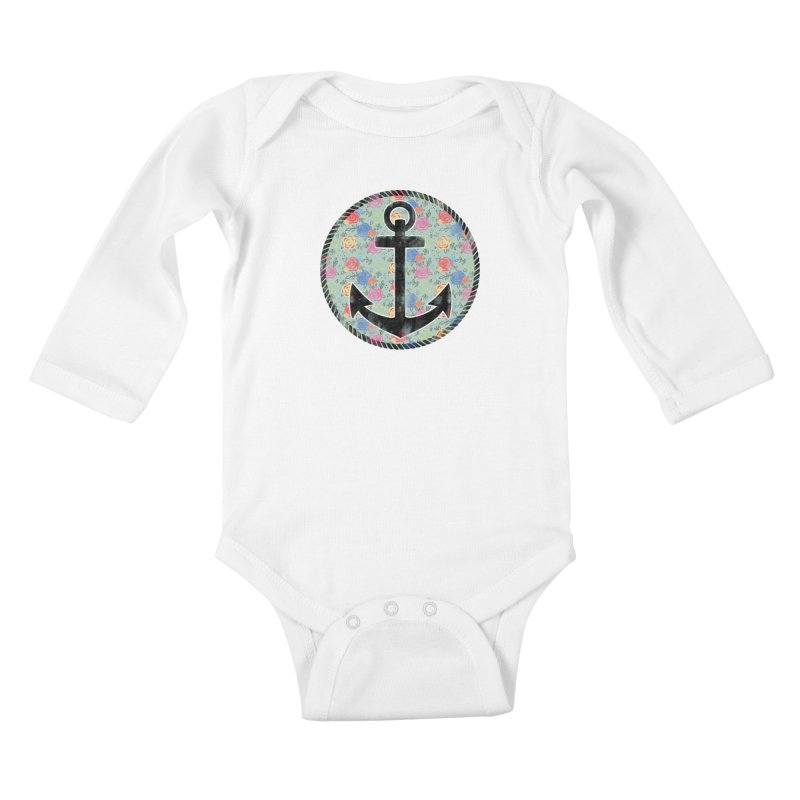 Anchor on Flowers Kids Baby Longsleeve Bodysuit by Pinup Bombshells Artist Shop