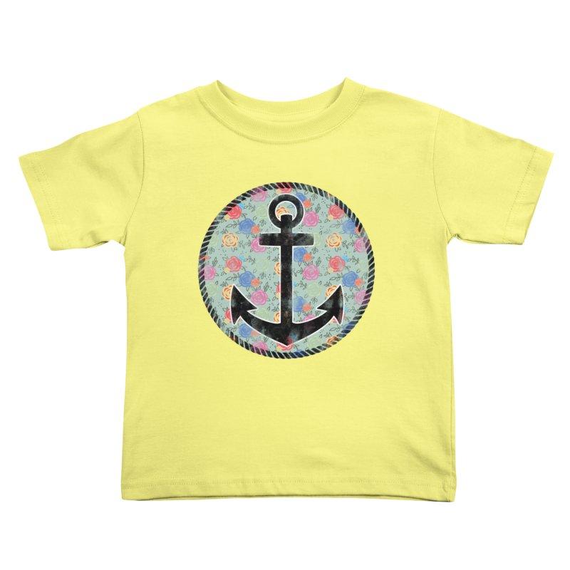 Anchor on Flowers Kids Toddler T-Shirt by Pinup Bombshells Artist Shop