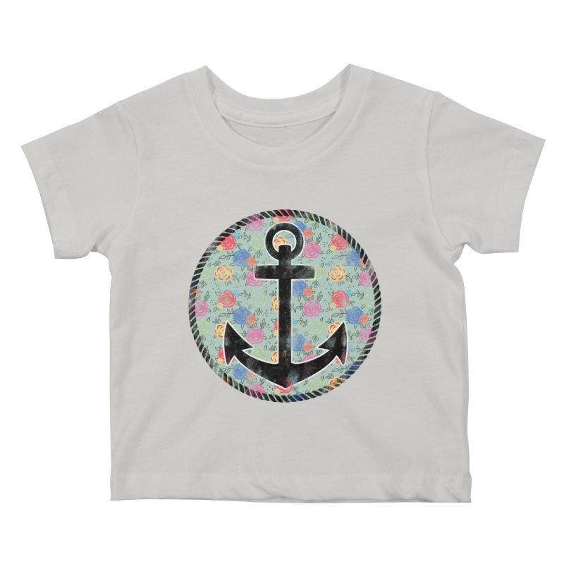 Anchor on Flowers Kids Baby T-Shirt by Pinup Bombshells Artist Shop
