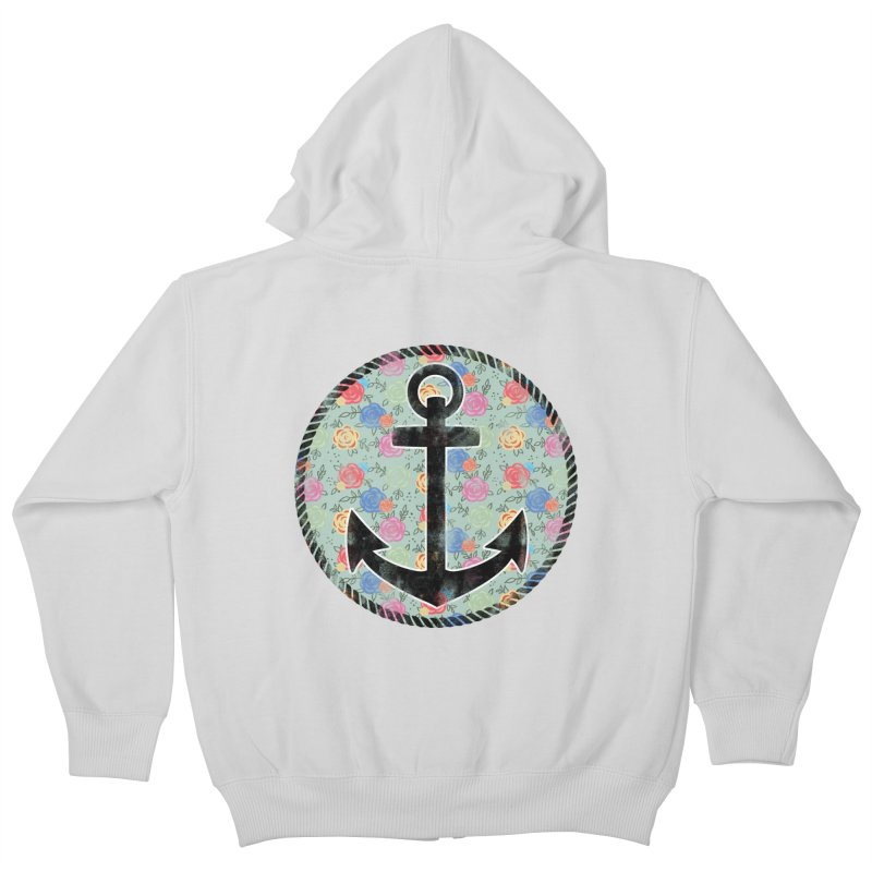Anchor on Flowers Kids Zip-Up Hoody by Pinup Bombshells Artist Shop