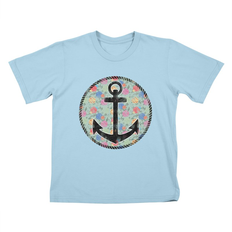 Anchor on Flowers Kids T-Shirt by Pinup Bombshells Artist Shop