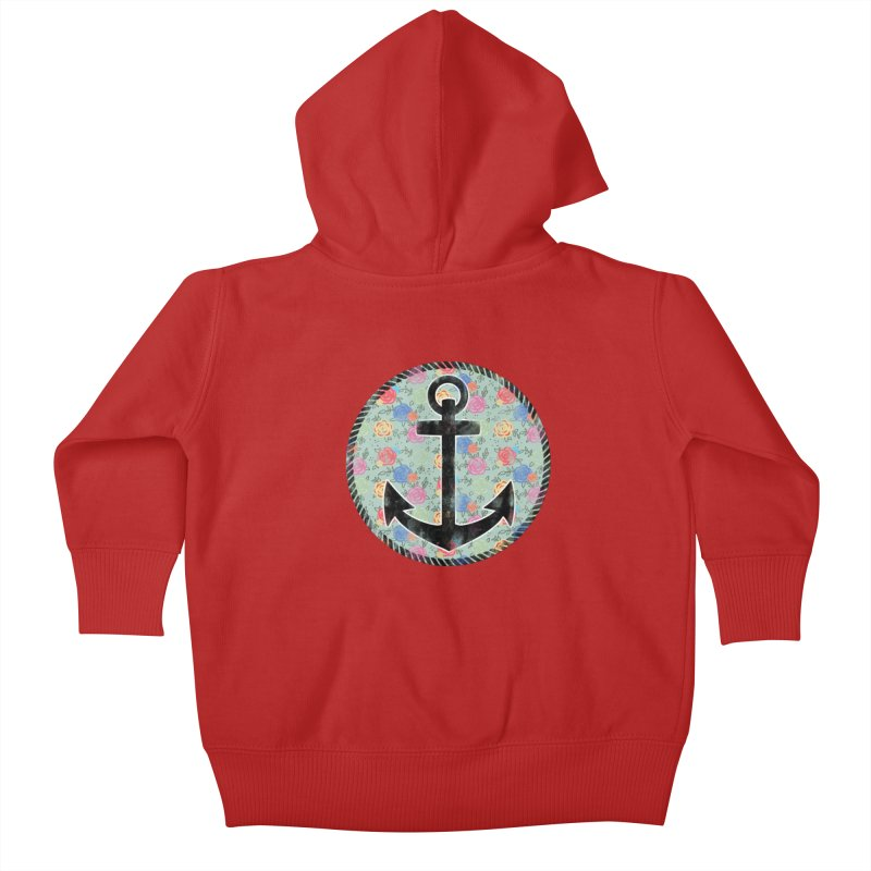 Anchor on Flowers Kids Baby Zip-Up Hoody by Pinup Bombshells Artist Shop