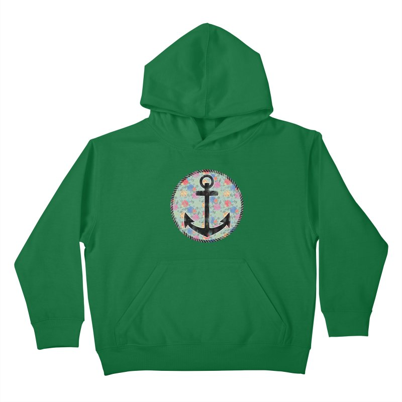 Anchor on Flowers Kids Pullover Hoody by Pinup Bombshells Artist Shop