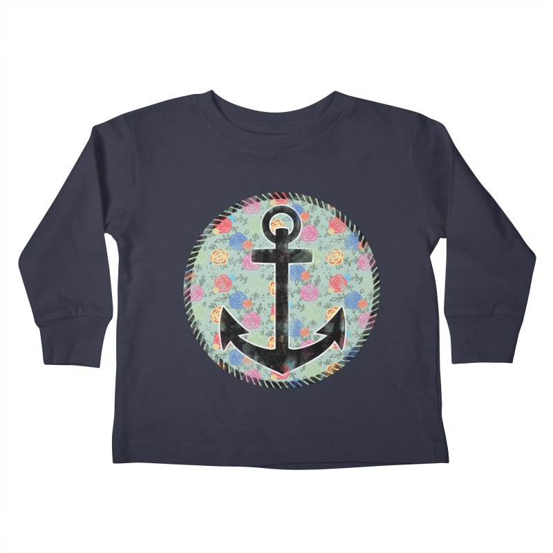 Anchor on Flowers Kids Toddler Longsleeve T-Shirt by Pinup Bombshells Artist Shop