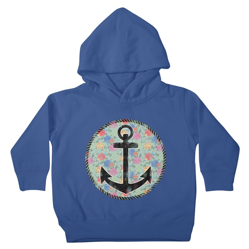 Anchor on Flowers Kids Toddler Pullover Hoody by Pinup Bombshells Artist Shop