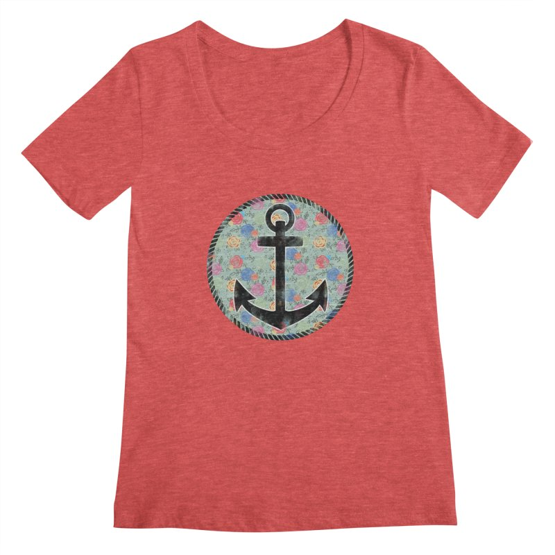 Anchor on Flowers Women's Scoopneck by Pinup Bombshells Artist Shop