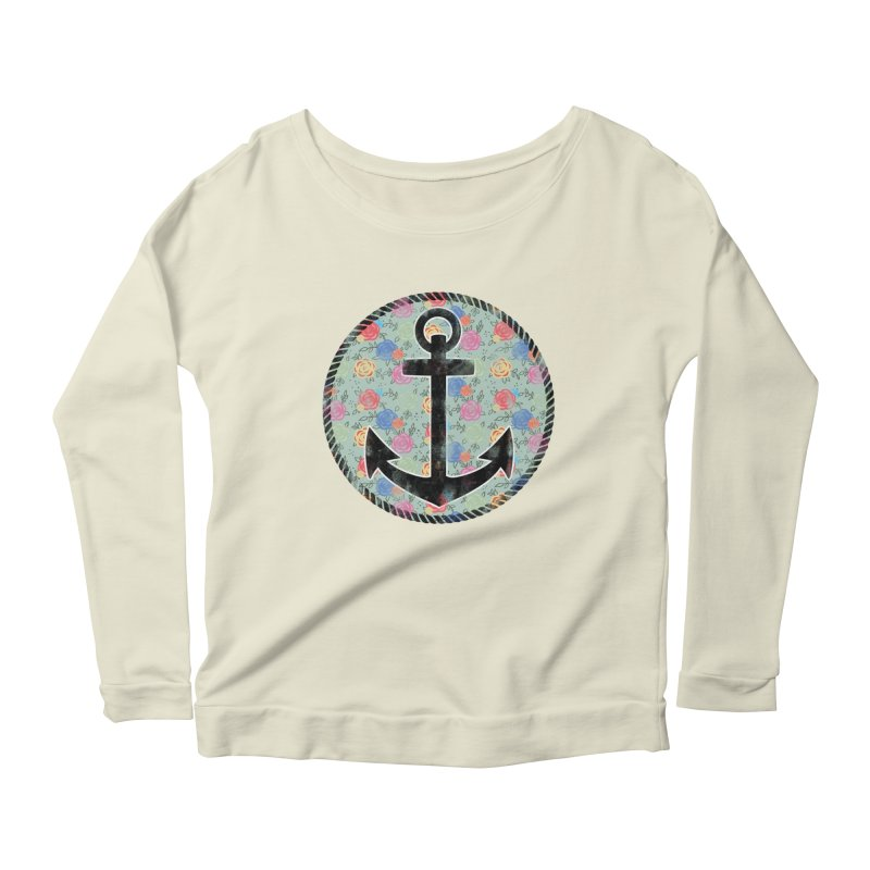 Anchor on Flowers Women's Longsleeve Scoopneck  by Pinup Bombshells Artist Shop