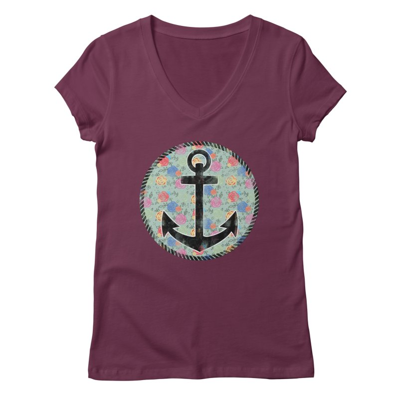 Anchor on Flowers Women's V-Neck by Pinup Bombshells Artist Shop