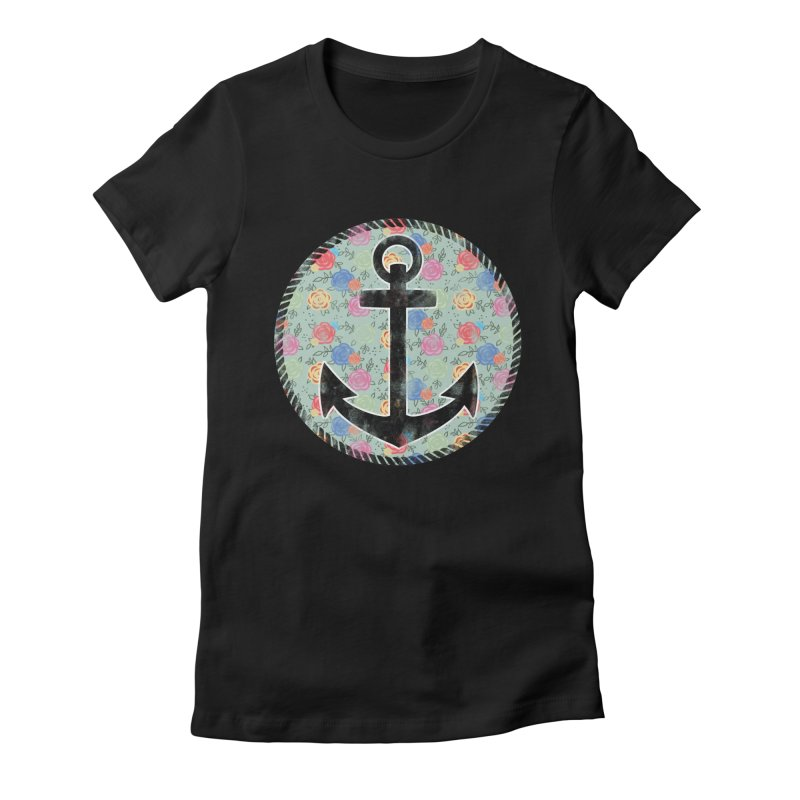 Anchor on Flowers Women's Fitted T-Shirt by Pinup Bombshells Artist Shop